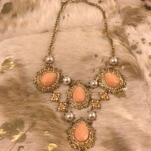 Statement Necklace- gold pearl & light peachy pink